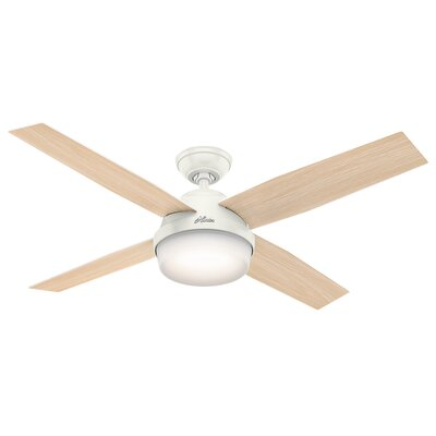 52 Dempsey 4 Blade Outdoor Ceiling Fan with Remote Finish: Fresh White with Fresh White/Washed Oak Blades