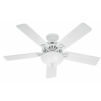 52 The Astoria? 5-Blade Ceiling Fan Finish: White with White/Light Oak Blades