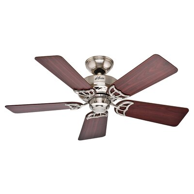 42 Hudson? 5-Blade Ceiling Fan Finish: Brushed Nickel with Cherry/Maple Blades
