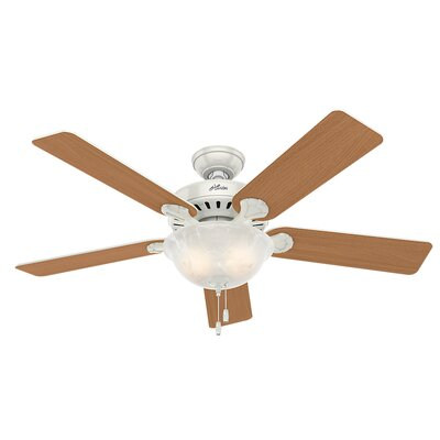 52 Pros Best Five Minute 5-Blade Ceiling Fan Finish: White with Beech/White Blades