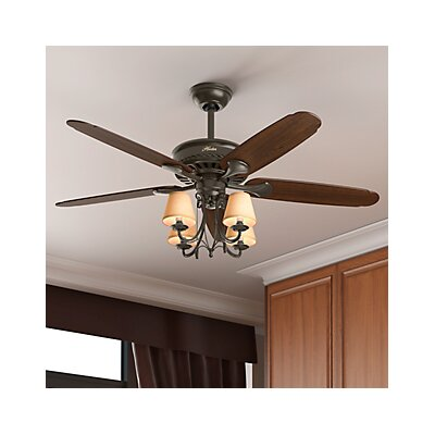 54 Cortland 5-Blade Ceiling Fan Finish: Bronze with Dark Cherry/Walnut Blades