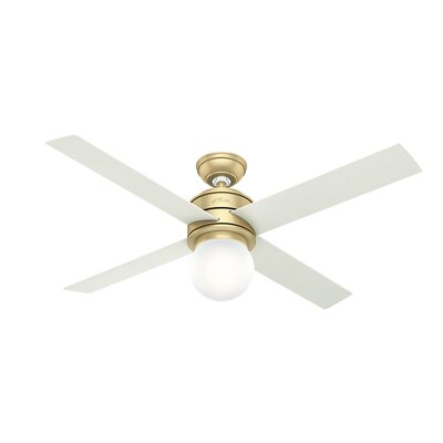 52 Hepburn Modern 4 Blade Ceiling Fan Finish: Modern Brass/White