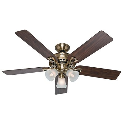 52 Sontera 5-Blade Ceiling Fan with Remote Finish: Antique Brass with Walnut/Medium Oak Blades