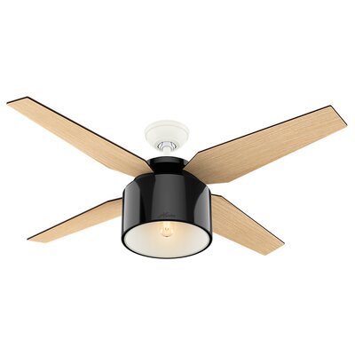 52 Cranbrook 4-Blade Ceiling Fan with Remote Motor Finish: Gloss Black