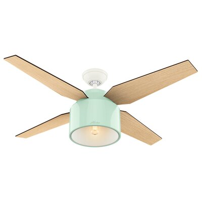52 Cranbrook 4-Blade Ceiling Fan with Remote Motor Finish: Mint