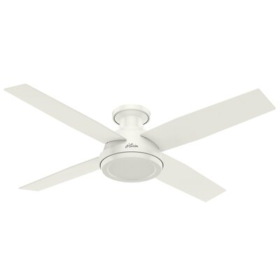 52 Dempsey 4-Blade Ceiling Fan with Remote Finish: Fresh White with Fresh White / Blonde Oak Blades