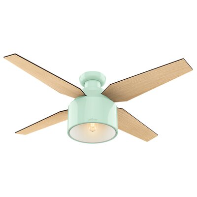 52 Cranbrook 4 Blade Ceiling Fan with Remote Motor Finish: Mint