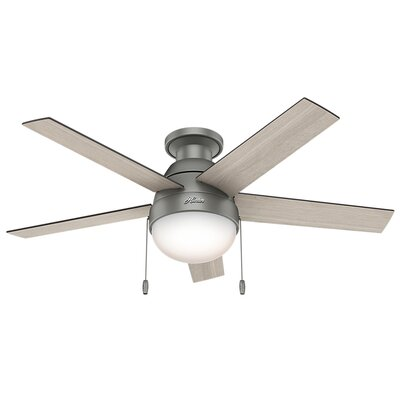 46 Anslee 5-Blade Ceiling Fan Finish: Matte Silver with Light Gray Oak / Gray Blades