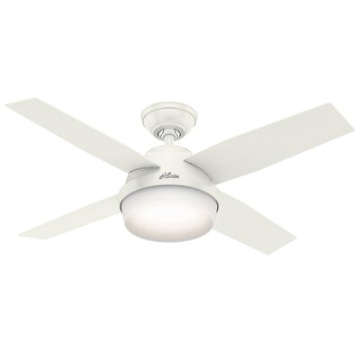 44 Dempsey with Light 4-Blade Ceiling Fan with Remote Finish: Fresh White with Fresh White / Blonde Oak Blades