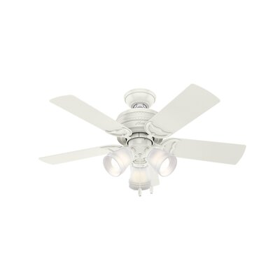 42 Prim 5 Blade Ceiling Fan Finish: Fresh White