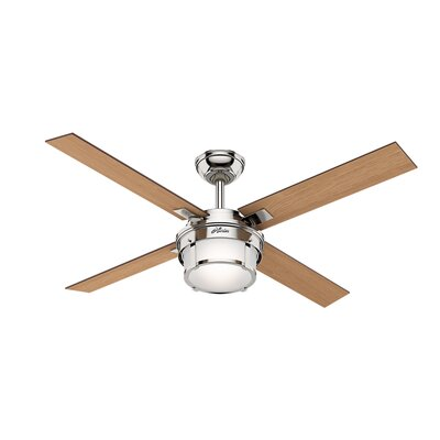 52 Maybeck 4 Blade Ceiling Fan with Remote Finish: Polished Nickel