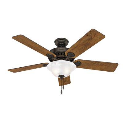 52 Buchanan 5 Blade Ceiling Fan with Light Finish: Premier Bronze with Dark Cherry/Cabin Home Blades