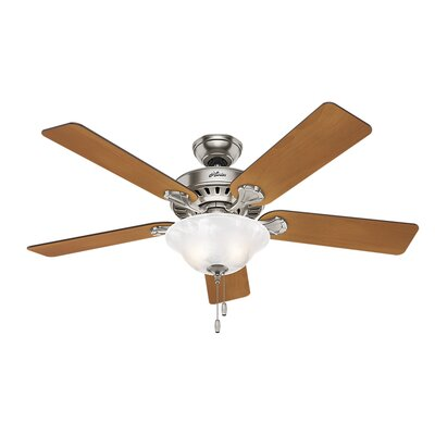 52 Buchanan 5 Blade Ceiling Fan with Light Finish: Brushed Nickel with Chestnut/Dark Cherry Blades