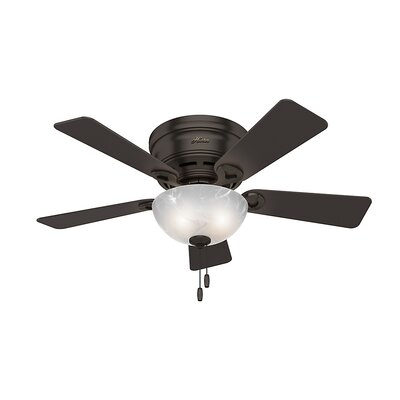 42 Haskell 5 Blade Ceiling Fan with Light Finish: Bronze with Dark Cherry/Rustic Lodge Blades