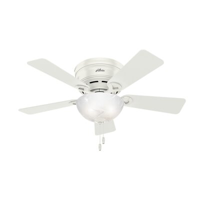 42 Haskell 5 Blade Ceiling Fan with Light Finish: Fresh White with Fresh White/Light Oak Blades