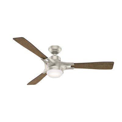 54 Signal Wi-Fi 3 Blade Ceiling Fan Finish: Matte Nickel with Walnut/Burnt Oak Grain Blades