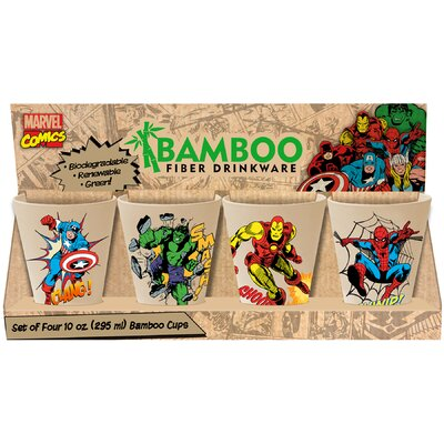 Marvel 4 Piece 10 oz. Bamboo Cup Set 26003