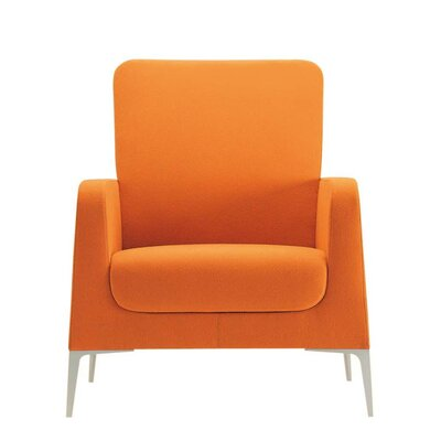 Hi Omega Lounge Chair Fabric: Momentum Beeline Vinyl Walnut, Color: Powder Coat