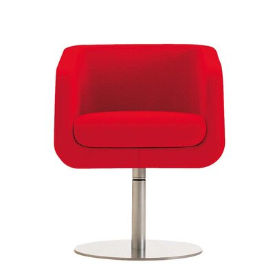 Ro Swivel Arm Chair Finish: Powder Coat White, Upholstery: Momentum Fuse Fabric Azurean