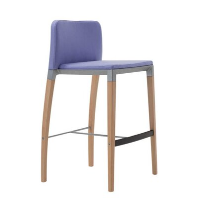 Zenith �29.5 Bar Stool Finish: Powder Coat Aluminum, Leg Finish: Dark Walnut, Upholstery: Momentum Fuse Fabric Azurean