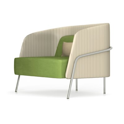 Noldor Low Back Arm Chair Finish: Metal, Upholstery: Momentum Fuse Fabric Azurean