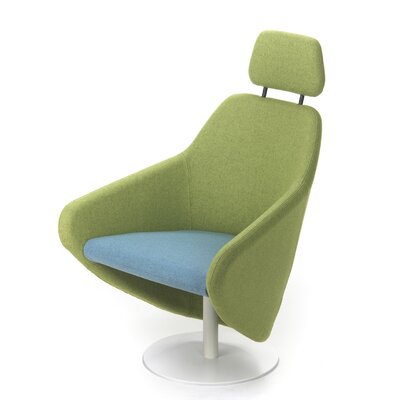 Taxido Swivel Lounge Chair with Headrest Upholstery: Powder Coat Black, Upholstery: Momentum Fuse Fabric Saffron