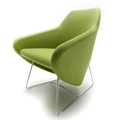 Taxido Sled Base Arm Chair with Headrest Upholstery: Aluminum, Finish: Momentum Fuse Fabric Azurean