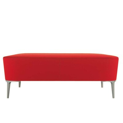 Ka Maxi Ottoman Upholstery: Momentum Fuse Fabric Azurean, Finish: Powder Coat Aluminum