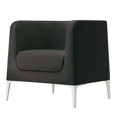 Alphabet Delta Lounge Chair Upholstery: Momentum Beeline Vinyl Walnut, Finish: Powder Coat Aluminum