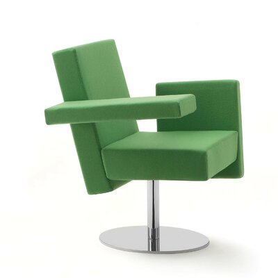 Meet Me Swivel Arm Chair Finish: White, Upholstery: Momentum Fuse Fabric Cress