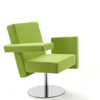 Meet Me Swivel Arm Chair Finish: Aluminum, Upholstery: Momentum Beeline Vinyl Eucalyptus