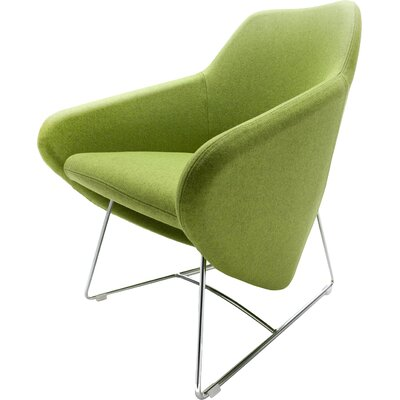 Taxido Sled Base Lounge Chair Finish: Aluminum, Finish: Momentum Fuse Fabric Azurean