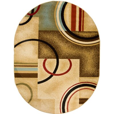 Barclay Ivory/Natural Arcs and Shapes Modern Area Rug Rug Size: Oval 53 x 610