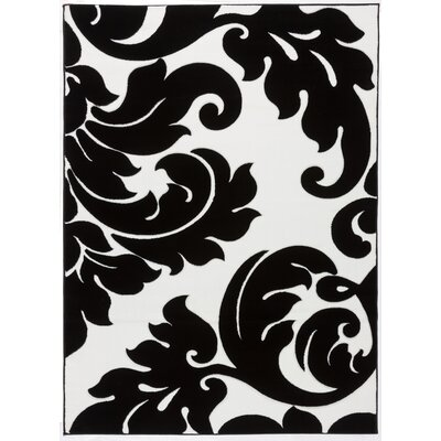 Melody Vines Damask Black / White Area Rug