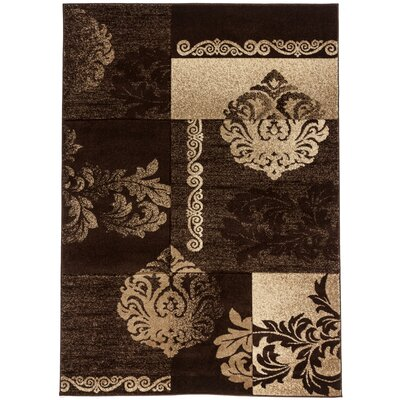 Ruby Floral Damask Brown Area Rug
