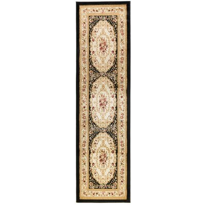 Burley Oak Versaille Traditional Medallion Black Area Rug Rug Size: Runner 2 x 73
