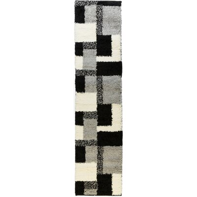 Madison Shag Black Cubes Area Rug Rug Size: Runner 18 x 72