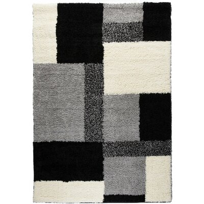 Madison Shag Black Cubes Area Rug Rug Size: 33 x 53