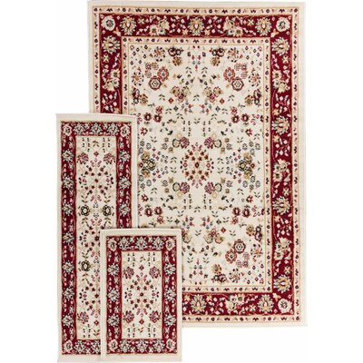 Coggrey 3 Piece Classic Ivory/Red Area Rug Set