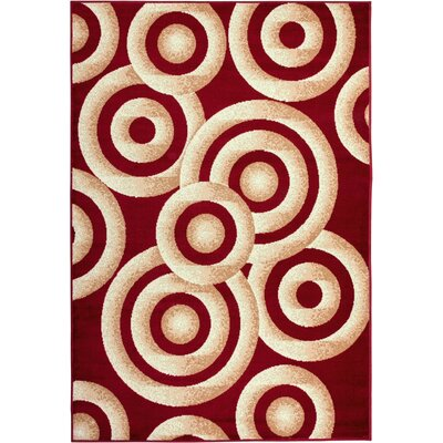 Shorey Circles Red/Gold Area Rug Rug Size: 5 x 7