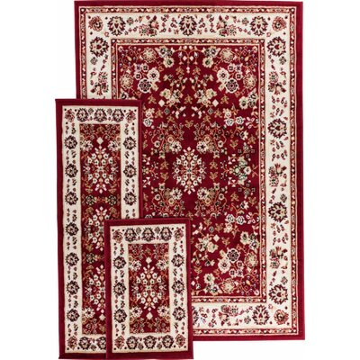 Well Woven Miami 3 Piece Bijar Classic Red Area Rug Set (Set of 3)