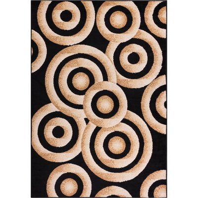 Shorey Circles Black/Gold Area Rug Rug Size: 82 x 910