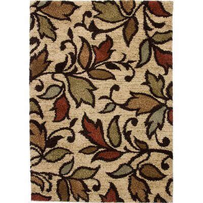Avenue Lovely Leaves Ivory Area Rug Rug Size: 67 x 93