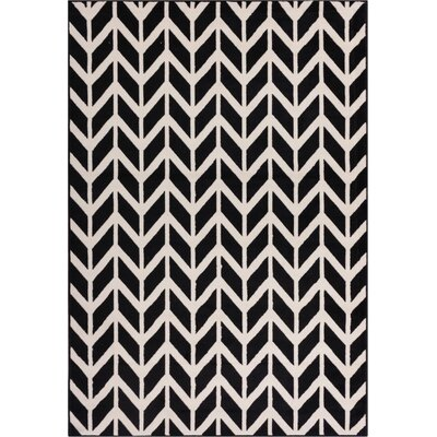 Shuster Chevron Black & White Area Rug Rug Size: 3'3