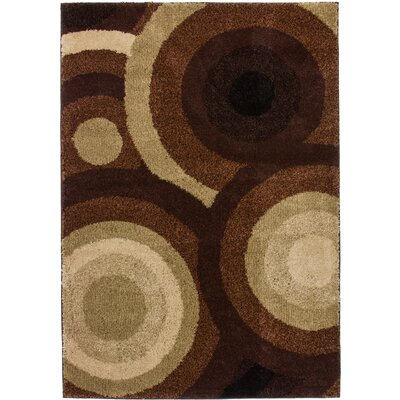 Avenue Positive Circles Brown Area Rug Rug Size: 82 x 910