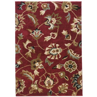 Avenue Marcy Floral Red Area Rug Rug Size: Rectangle 67 x 93