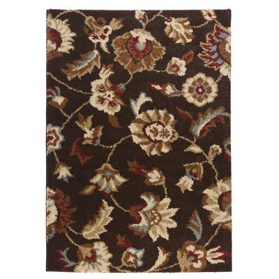 Avenue Marcy Floral Brown Area Rug Rug Size: 82 x 910