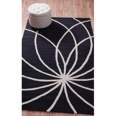 Everest Swirls and Spirals Black Area Rug Rug Size: Rectangle 5 x 76