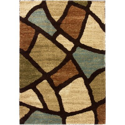 Avenue Wavy Shapes Green Area Rug Rug Size: 67 x 93