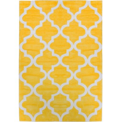 Mirage Lattice Yellow Area Rug Rug Size: 76 x 96